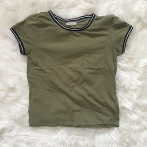 Tops - Green top with striped collar and sleeves